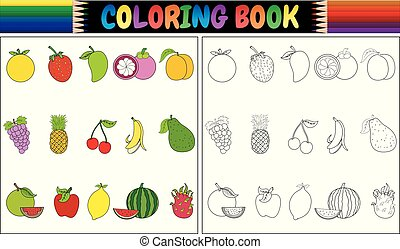 fresco, cartone animato, libro colorante, frutte