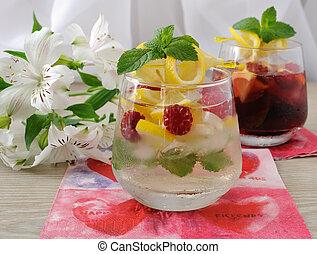 fresco, casalingo, limonata, con, menta, e, lamponi