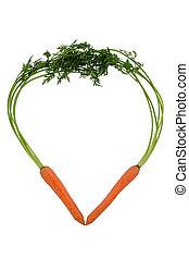 fresco, cenouras, em, um, forma coração