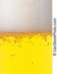 fresco, cerveza, burbujeado, textura, vidrio