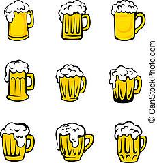 fresco, cerveza, conjunto, espuma, anteojos