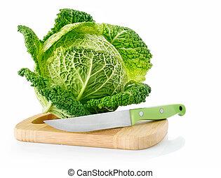 fresco, col verde, a bordo, con, cuchillo