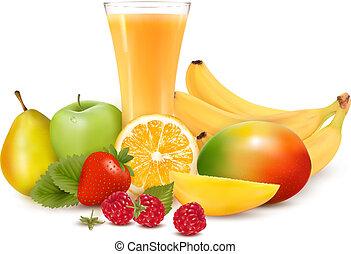 fresco, color, fruta, y, juice., vector, ilustración