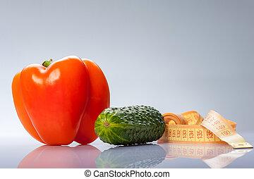 fresco, colorido, legumes, com, centímetro, medindo, seu, saúde