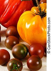 fresco, coloridos, tomates, heirloom