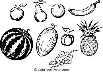 fresco, conjunto, aislado, fruits