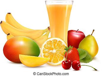 fresco, cor, fruta, e, juice., vetorial, ilustração