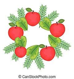 fresco, cornice, mele, mette foglie, frutte