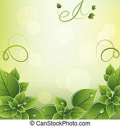fresco, cornice, vettore, congedi verdi