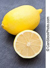 fresco, corte, limón, mitad