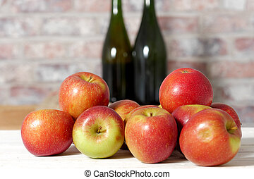 fresco, cosecha, manzanas, rojo, ramo