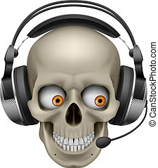 fresco, cráneo, con, auriculares