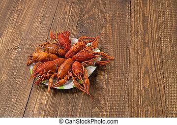fresco, crayfishes, placa