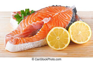 fresco, crudo, salmone, su, uno, tagliere