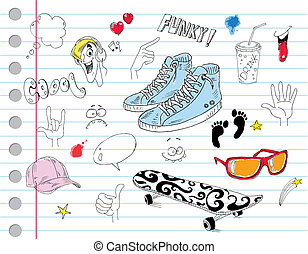 fresco, cuaderno, doodles