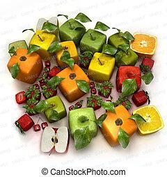 fresco, cubico, frutte