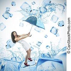 fresco, cubo ghiaccio, moda