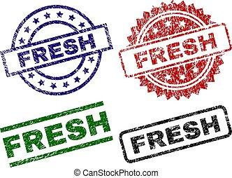 fresco, danificado, textured, selos, selo
