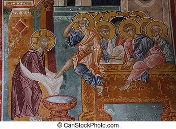 Last Supper - Fresco depicting Washing of feet at Last ...