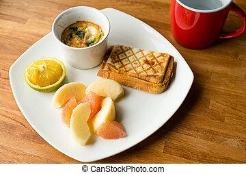 fresco, desayuno, con, taza, de, agua