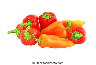 fresco, doce, pimenta vermelha, isolado, branco, fundo