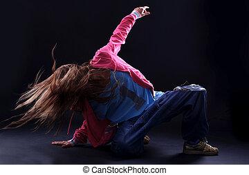 fresco, donna, moderno, ballerino, contro, nero