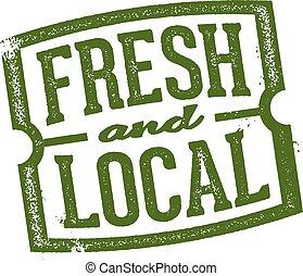 fresco, e, mercado local, selo