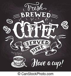 fresco, elaborado cerveza, café, servido, aquí, mano, letras