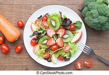 fresco, ensalada, con, fresas, kiwi, tomates, y, manzanas, punta la vista