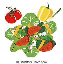 fresco, ensalada, jardín
