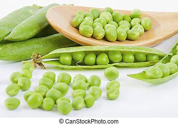 fresco, ervilha, fruta, com, folha verde