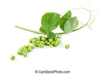 fresco, ervilha, fruta, com, folha verde, isolado, branco, fundo