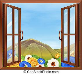 fresco, exterior, flores, janela
