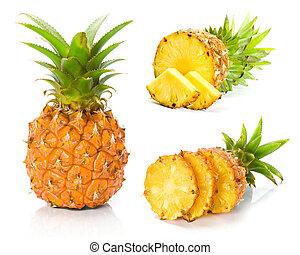 fresco, fatia, abacaxi