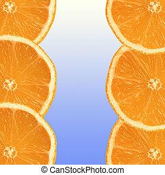 fresco, fatias, laranja