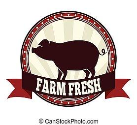 fresco, fattoria, carne di maiale