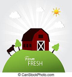 fresco, fattoria, etichetta