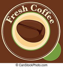 fresco, feijão café, etiqueta
