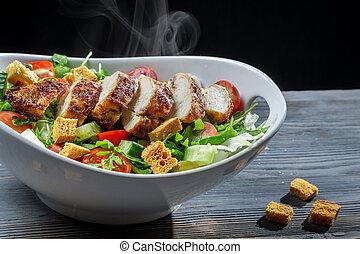 fresco, feito, césar salada, ingredientes
