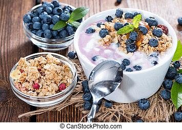 fresco, feito, mirtilo, yogurt
