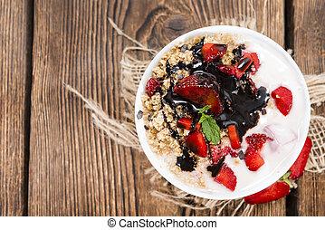 fresco, feito, moranguinho, yogurt