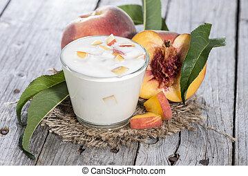 fresco, feito, pêssego, yogurt