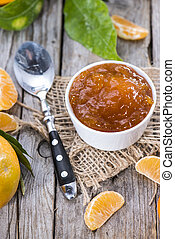 fresco, feito, tangerina, geleia