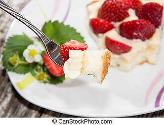 fresco, feito, torta morango
