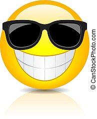 fresco, feliz, óculos de sol, emoji