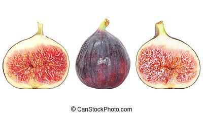 fresco, figo, fruta, e, figo, metades, isolado, branco