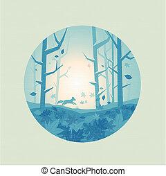 fresco, floresta, panorâmico