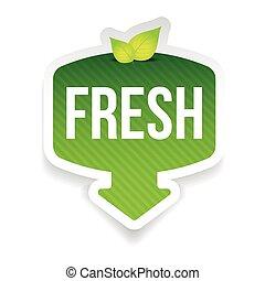 fresco, foglie, verde, etichetta