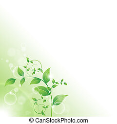 fresco, foglie, verde, ramo