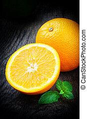 fresco, folhas, hortelã, laranjas